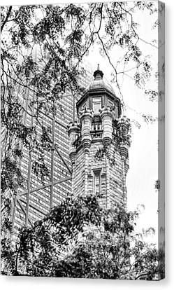 Canvas Print featuring the photograph Chicago Historic Water Tower Fog Black And White by Christopher Arndt