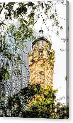 Canvas Print featuring the painting Chicago Historic Water Tower Fog by Christopher Arndt
