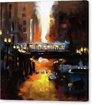 Chicago II 474 1 Canvas Print by Mawra Tahreem