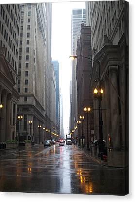 Chicago In The Rain 2 Canvas Print by Anita Burgermeister