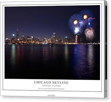 Chicago Lakefront Skyline Poster Canvas Print by Steve Gadomski