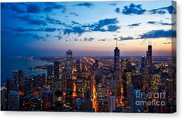 Chicago Llinois - Urban City At Sunset Canvas Print