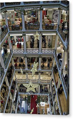 Chicago Macys Department Store In November Vertical Canvas Print by Thomas Woolworth
