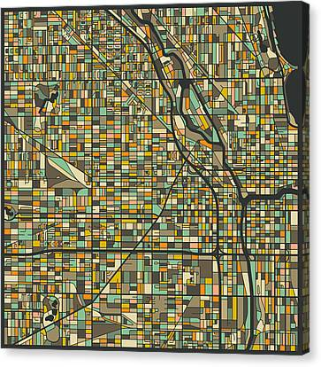 Chicago Map Canvas Print by Jazzberry Blue