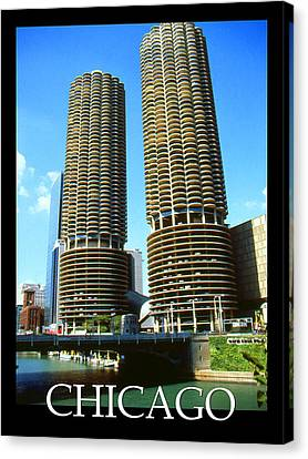 Chicago Marina City - Poster Art Canvas Print by Art America Gallery Peter Potter
