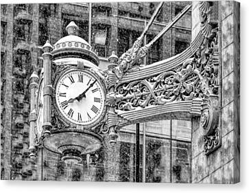 Canvas Print featuring the photograph Chicago Marshall Field State Street Clock Black And White by Christopher Arndt