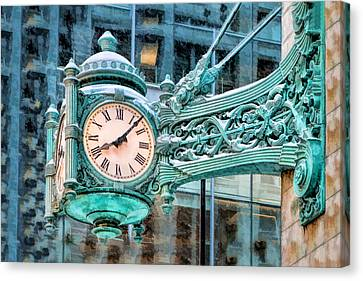 Canvas Print featuring the painting Chicago Marshall Field State Street Clock by Christopher Arndt