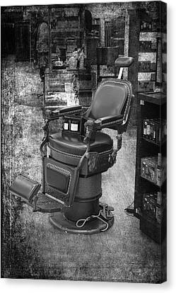 Chicago Marshall Fields Antique Barber Chair Bw 01 Vertical Canvas Print by Thomas Woolworth
