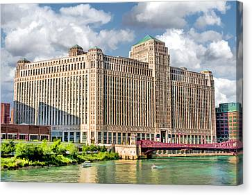 Canvas Print featuring the painting Chicago Merchandise Mart by Christopher Arndt