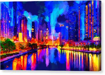 Chicago Night Canvas Print by Caito Junqueira