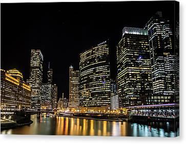 Chicago Night Skyline From Wolf Point Canvas Print by Sven Brogren