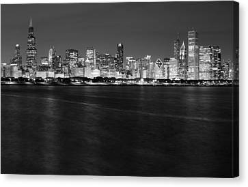 Chicago Night Skyline In Black And White Canvas Print by Twenty Two North Photography