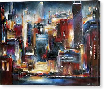 Chicago Skyline Canvas Print - Chicago Night Skyline by Kathleen Patrick