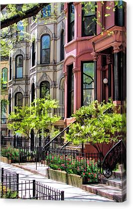 Canvas Print featuring the painting Chicago North Shore Greystones by Christopher Arndt