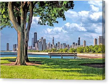 Park Benches Canvas Print - Chicago North Skyline Park by Christopher Arndt