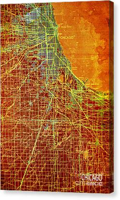 Chicago Old Map Canvas Print