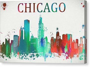 Chicago Paint Splatter Canvas Print by Dan Sproul