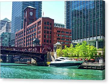 Chicago Parked By The Clark Street Bridge On The River Canvas Print by Thomas Woolworth
