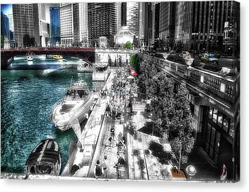 Chicago Parked On The River Walk 03 Sc Canvas Print by Thomas Woolworth
