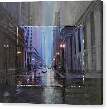Chicago Rainy Street Expanded Canvas Print