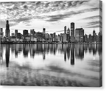 Black And White Canvas Print - Chicago Reflection by Donald Schwartz