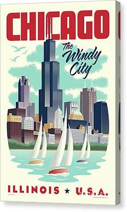 Chicago Retro Travel Poster Canvas Print by Jim Zahniser
