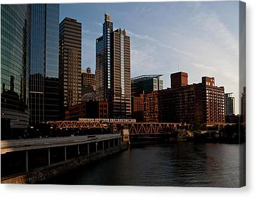 Chicago River And Downtown Canvas Print