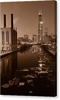 Chicago River B And W Canvas Print by Steve Gadomski