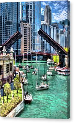 Chicago River Boat Migration Canvas Print by Christopher Arndt
