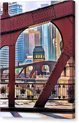 Canvas Print featuring the painting Chicago River Bridge Framed by Christopher Arndt