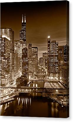 View. Chicago Canvas Print - Chicago River City View B And W by Steve gadomski