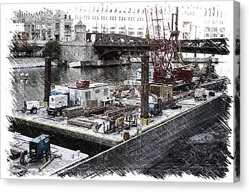 Chicago River Construction Barge Pa 04 Canvas Print by Thomas Woolworth