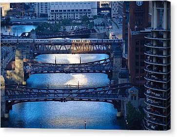 Chicago River First Light Canvas Print by Steve Gadomski