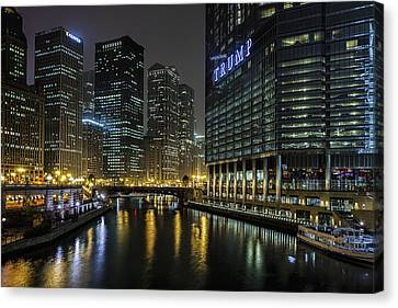 Chicago River Night View Canvas Print by Andrew Soundarajan