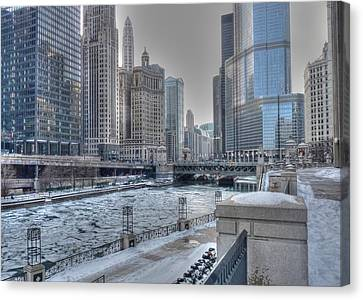 Chicago River On The Rocks Canvas Print by David Bearden