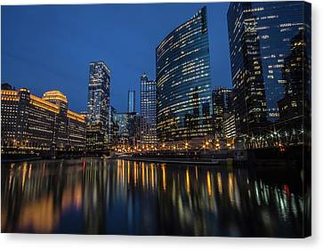 Chicago River Reflections At Dusk  Canvas Print by Sven Brogren