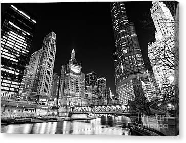 Chicago River Canvas Print - Chicago River Skyline At Night In Black And White by Paul Velgos