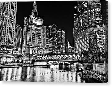 Chicago River Canvas Print - Chicago River Skyline At Night Picture by Paul Velgos