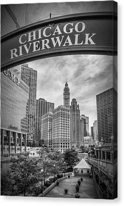 Chicago River Walk Black And White Canvas Print