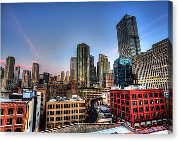 Canvas Print featuring the photograph Chicago Rooftop And Sunset by Shawn Everhart