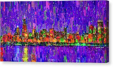 Chicago Skyline 201 - Pa Canvas Print by Leonardo Digenio