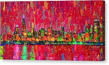 Circles Canvas Print - Chicago Skyline 203 - Da by Leonardo Digenio