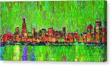 Chicago Skyline 206 - Pa Canvas Print by Leonardo Digenio