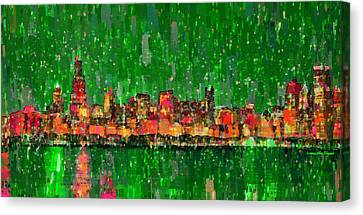 Chicago Skyline 209 - Pa Canvas Print by Leonardo Digenio