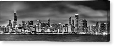 Cities Canvas Print - Chicago Skyline At Night Black And White by Jon Holiday