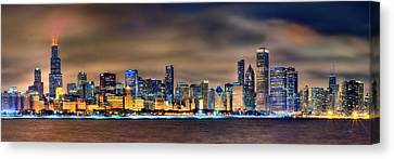 Building Canvas Print - Chicago Skyline At Night Panorama Color 1 To 3 Ratio by Jon Holiday
