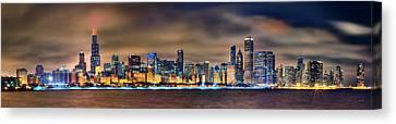 Chicago Skyline At Night Panorama Canvas Print