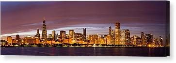 Chicago Skyline At Night Canvas Print by Twenty Two North Photography