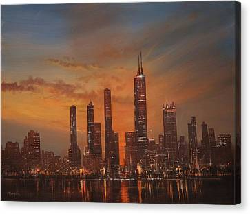 Chicago Skyline At Sunset Canvas Print by Tom Shropshire