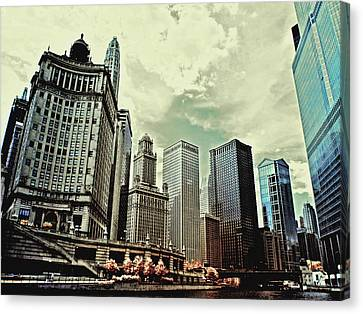 Chicago River Canvas Print - Chicago Skyline by Bob LaForce